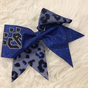 CA blue leopard sparkle cheer bow